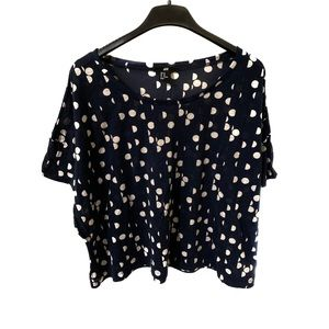 H&M Navy & White Polka Dot Shirt, Size XS